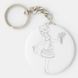 Ivory Bride Basic Round Button Key Ring