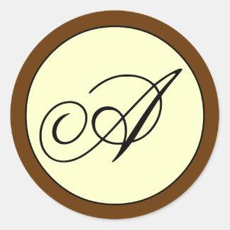 Ivory Brown Script Initial A Wedding Round Sticker