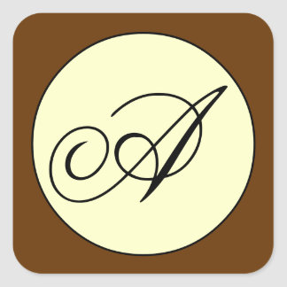 Ivory Brown Script Initial A Wedding Square Sticker