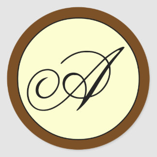 Ivory Brown Script Initial A Wedding Classic Round Sticker