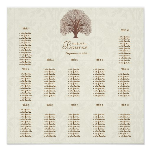 Ivory Brown Swirl Tree wit Birds Seating 12 Tables Print