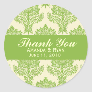 Ivory & Chartreuse Damask Round Wedding Labels Round Sticker