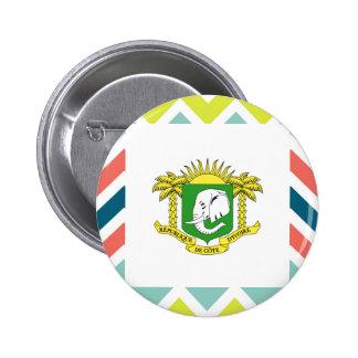 Ivory Coast Flag Box on Colorful Chevron 6 Cm Round Badge