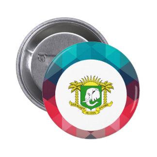 Ivory Coast flag circle on modern bokeh 6 Cm Round Badge