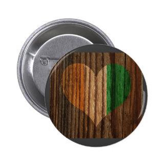Ivory+Coast Flag Heart on Wood theme 6 Cm Round Badge