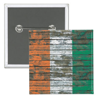 Ivory Coast Flag on Rough Wood Boards Effect Buttons