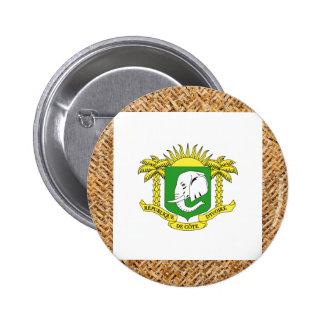 Ivory Coast Flag on Textile themed 6 Cm Round Badge