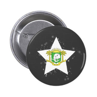Ivory Coast Flag Star Shining 6 Cm Round Badge