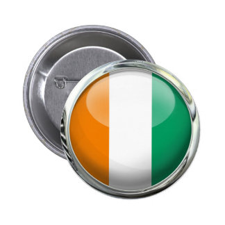 Ivory Coast Round Flag in Glass Ball 6 Cm Round Badge