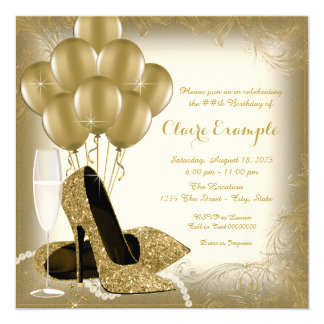 Ivory Cream and Gold Glitter Womans Birthday Party 13 Cm X 13 Cm Square Invitation Card