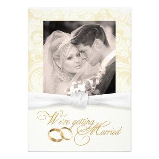Ivory Damask - Elegant Photo Wedding Invitations