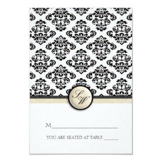 Ivory Damask Folding Tent  Place Card 9 Cm X 13 Cm Invitation Card