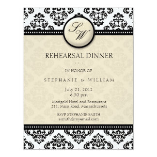 Ivory Damask Monogram Rehearsal Dinner Card 11 Cm X 14 Cm Invitation Card