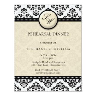 "Ivory Damask Monogram Rehearsal Dinner Card 4.25"" X 5.5"" Invitation Card"