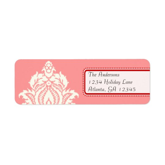Ivory Damask On Pink with Red