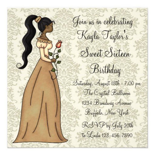 Ivory Damask Princess Sweet 16 Party Announcement