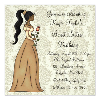 "Ivory Damask Princess Sweet 16 Party 5.25"" Square Invitation Card"