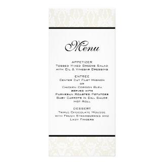 Ivory Damask Wedding Menu Full Color Rack Card