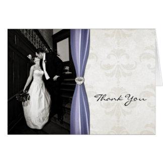Ivory Damask Wedding Photo Thank You Card