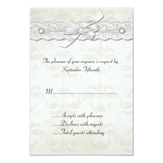 Ivory Damask Wedding RSVP Card
