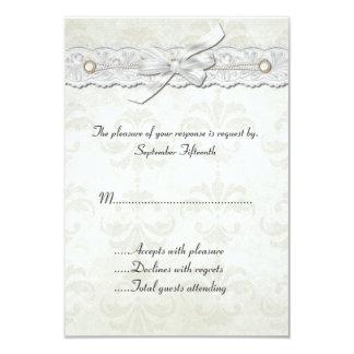 Ivory Damask Wedding RSVP Card Invitation