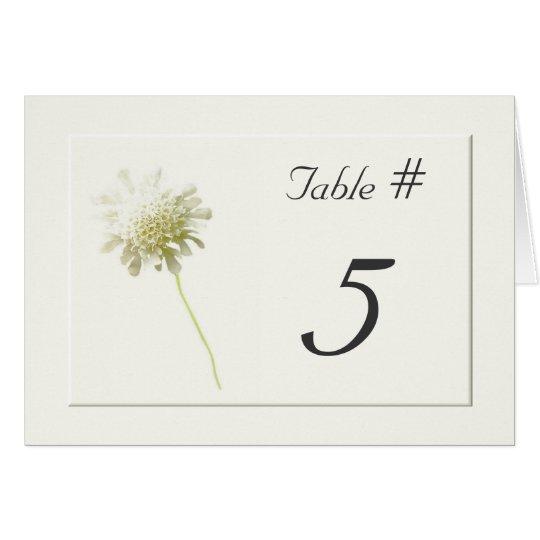 Ivory Dandelion Floral Wedding Table Numbers