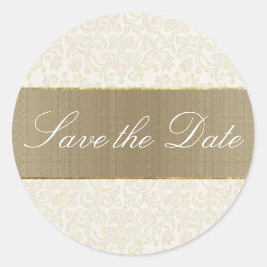 Ivory Filigree Save the DateSticker/Seal Classic Round Sticker