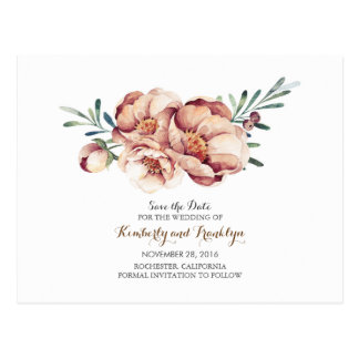 ivory floral bouquet watercolor fall save the date postcard