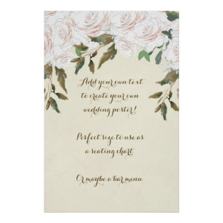 ivory floral custom wedding poster