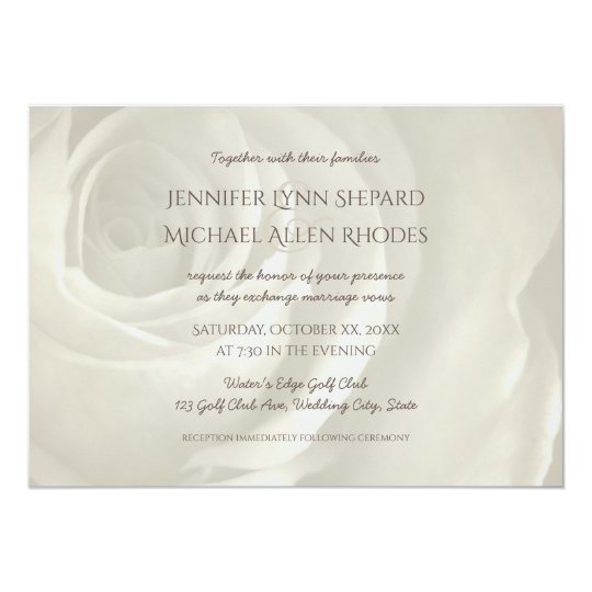 ivory floral simple elegant wedding invitation