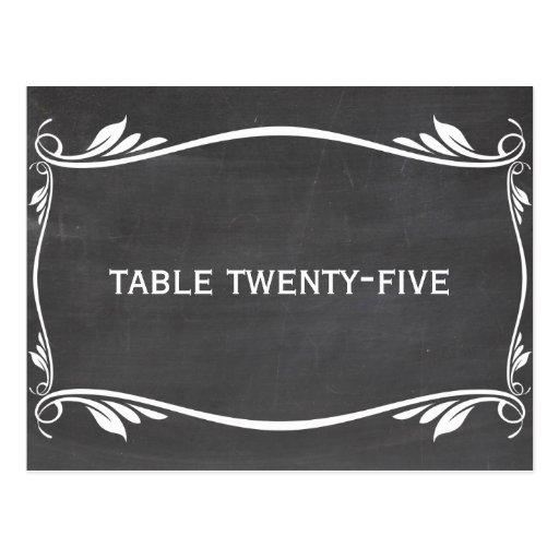 Ivory Flourish Chalkboard Table Number Postcard