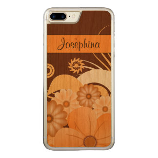 Ivory Fold Brown and Orange Floral Hibiscus Wood Carved iPhone 8 Plus/7 Plus Case