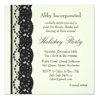 Ivory French Lace Holiday Invitation (corp)