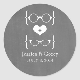 Ivory Geeky Glasses Chalkboard Wedding Stickers
