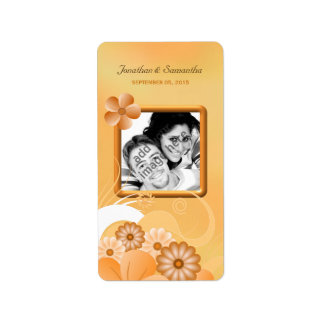 Ivory Gold and Peach Floral Wedding Photo Favor Label