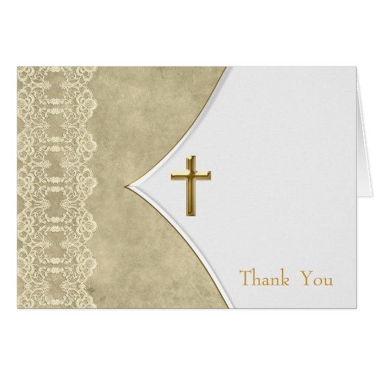Ivory Gold Cross Baptism Christening Thank You Car