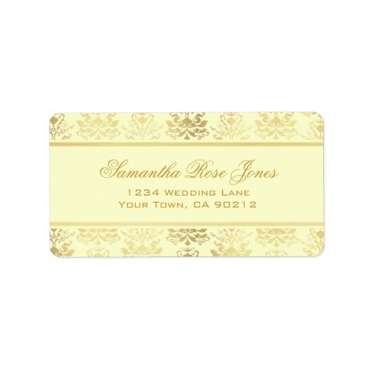 Ivory & Gold Damask Elegant Address Label