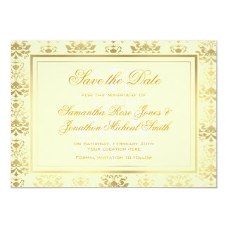 Ivory & Gold Damask Save the Date Card