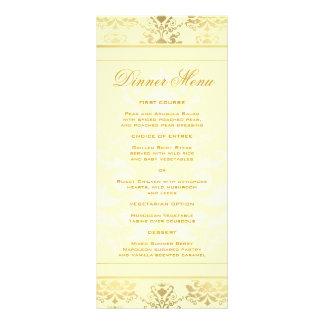 Ivory & Gold Damask Slim Dinner Menu Full Color Rack Card