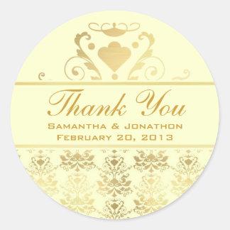 Ivory Gold Damask Wedding Thank You Sticker