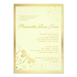 Ivory & Gold Dragonfly Pointillism Bridal Shower 13 Cm X 18 Cm Invitation Card