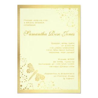 Ivory & Gold Dragonfly Pointillism Bridal Shower Card