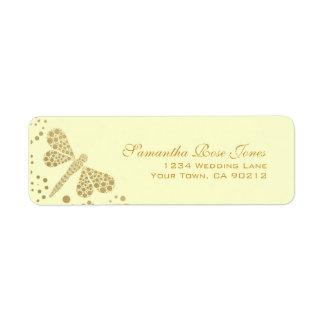 Ivory & Gold Dragonfly Pointillism Custom Address