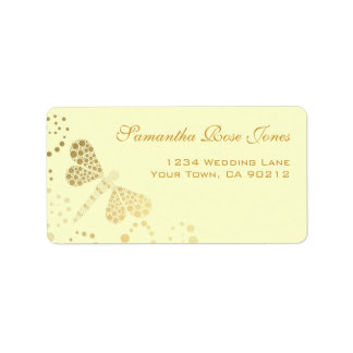 Ivory & Gold Dragonfly Pointillism Custom Address Label