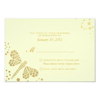 Ivory & Gold Dragonfly Pointillism Custom RSVP 9 Cm X 13 Cm Invitation Card