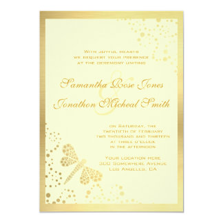 Ivory & Gold Dragonfly Pointillism Custom Wedding 13 Cm X 18 Cm Invitation Card
