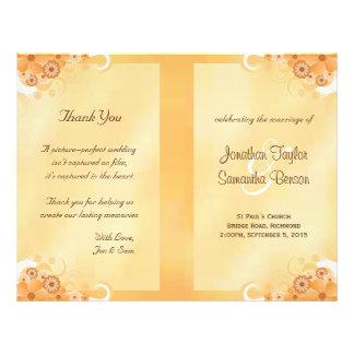 Ivory Gold Floral Elegant Bi-Fold Wedding Programs 21.5 Cm X 28 Cm Flyer