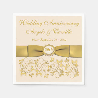 Ivory, Gold Floral Golden Anniversary Napkins 2 Disposable Serviette