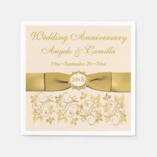 Ivory, Gold Floral Golden Anniversary Napkins 2 Paper Napkin