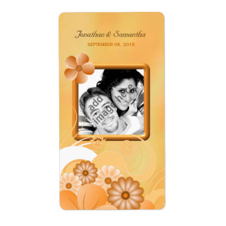 Ivory Gold Floral Wedding Photo Favor Wine Labels